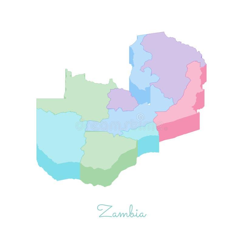 赞比亚地区地图:五颜六色的等量顶视图 向量例证