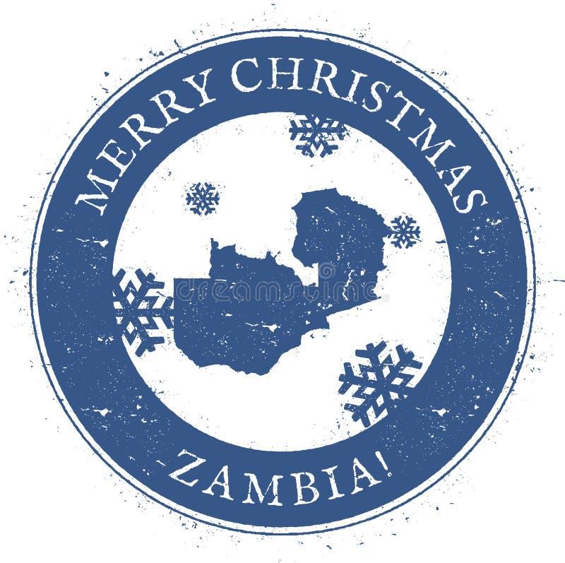 赞比亚地图 葡萄酒圣诞快乐赞比亚邮票 向量例证