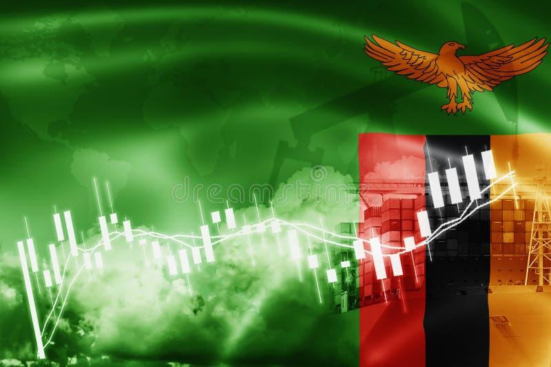 赞比亚旗子、股票市场、交换经济和贸易,石油生产,在出口的集装箱船和进口业和后勤学 免版税库存照片