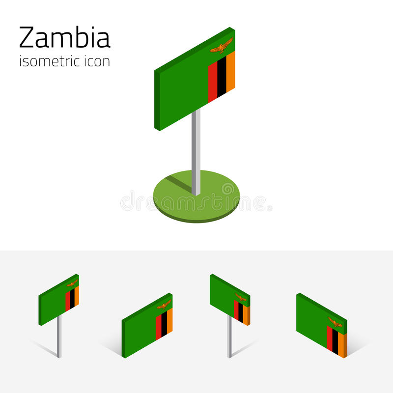 赞比亚旗子, 3D传染媒介等量平的象 库存例证