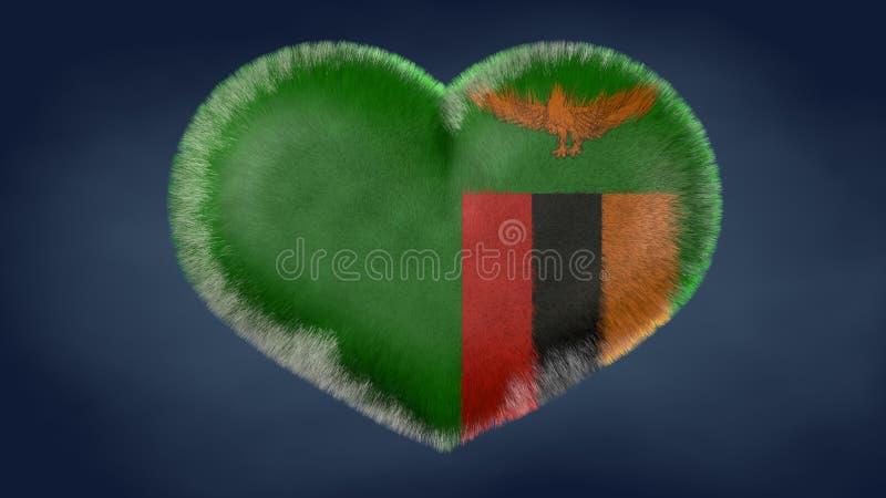 赞比亚的旗子的心脏 皇族释放例证