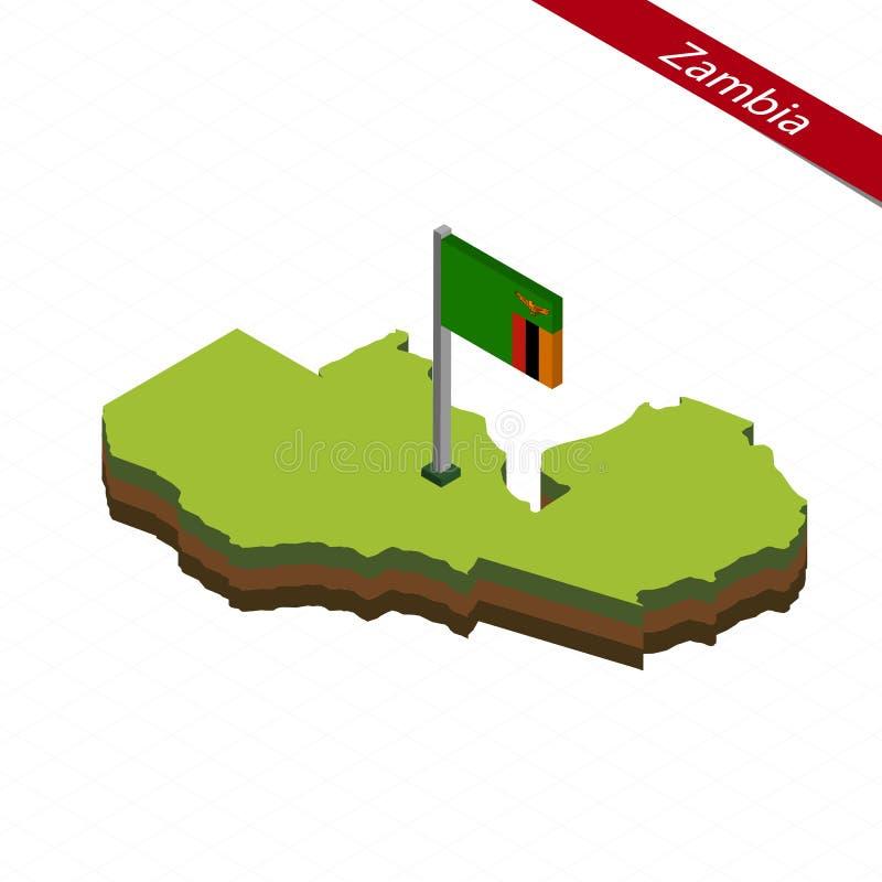 赞比亚等量地图和旗子 也corel凹道例证向量 皇族释放例证