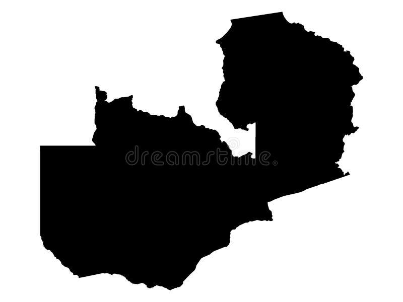 赞比亚黑地图  向量例证