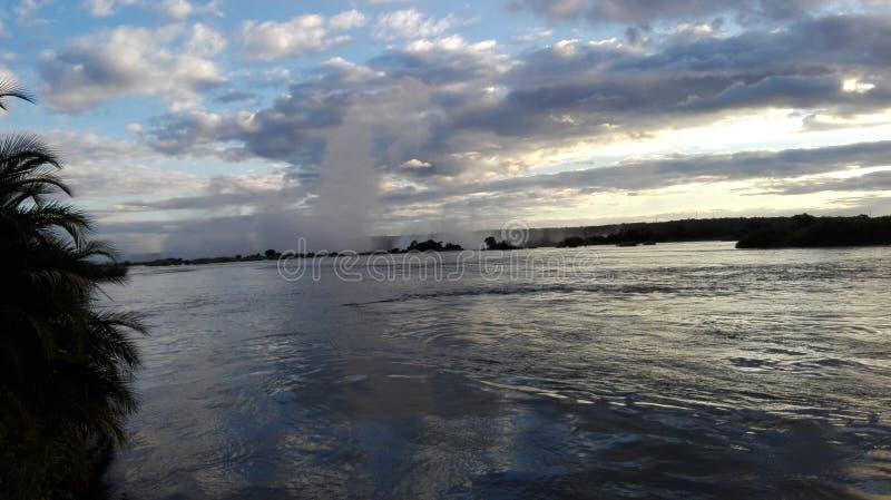 赞比西河日落 图库摄影