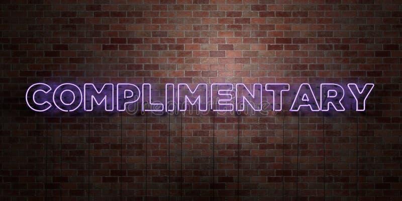 赞美-在砖砌的萤光氖灯标志-正面图- 3D回报了皇族自由储蓄图片 向量例证