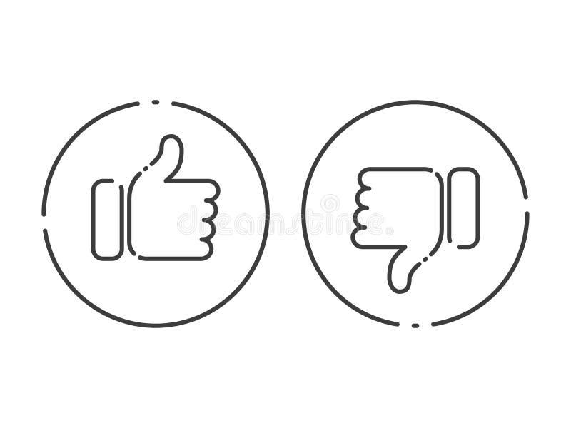 赞许和下来导航线社会媒介象 库存例证
