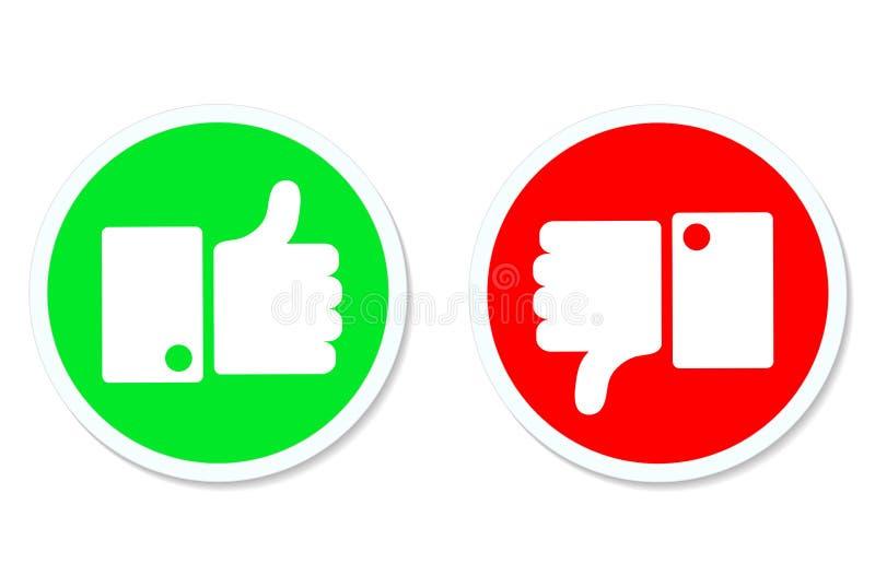 赞许和下来拇指,象和反感按钮,储蓄vecto 向量例证