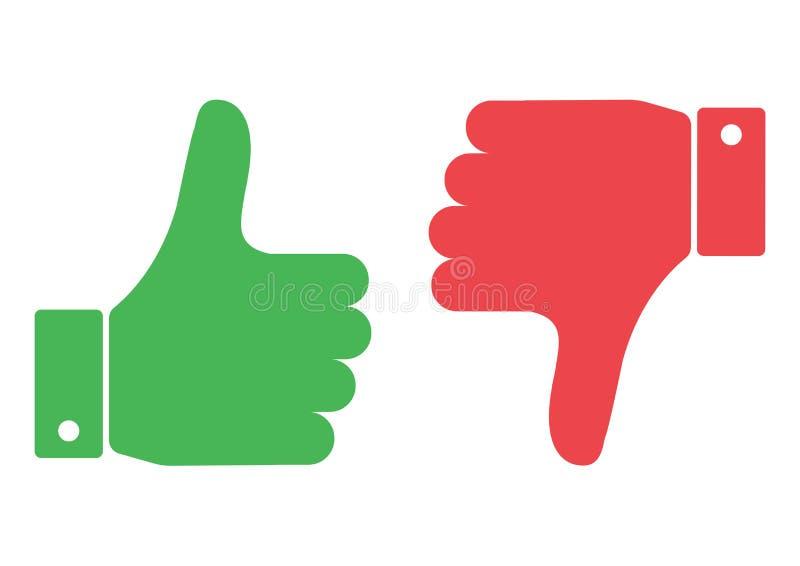 赞许和击倒红色和绿色 我喜欢并且烦恶 ?? 向量例证