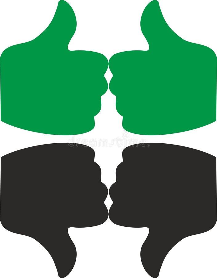 赞许和拇指在绿色和黑色下 向量例证