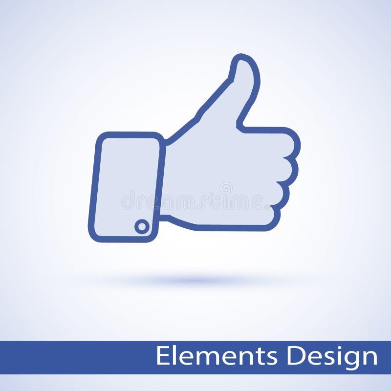 赞许图标 手标志鼓励,成功 库存例证