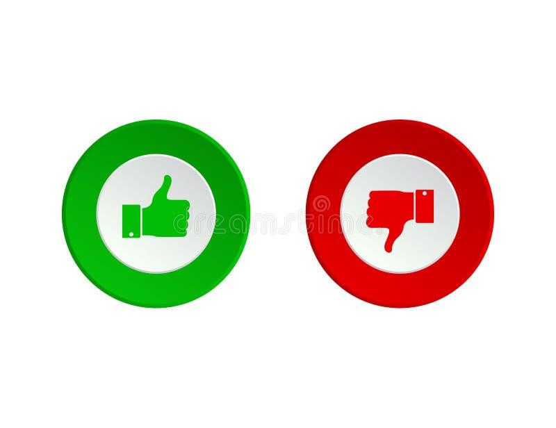 赞许或下来 喜欢和反感按钮 Dos和donts象象 r 免版税库存照片