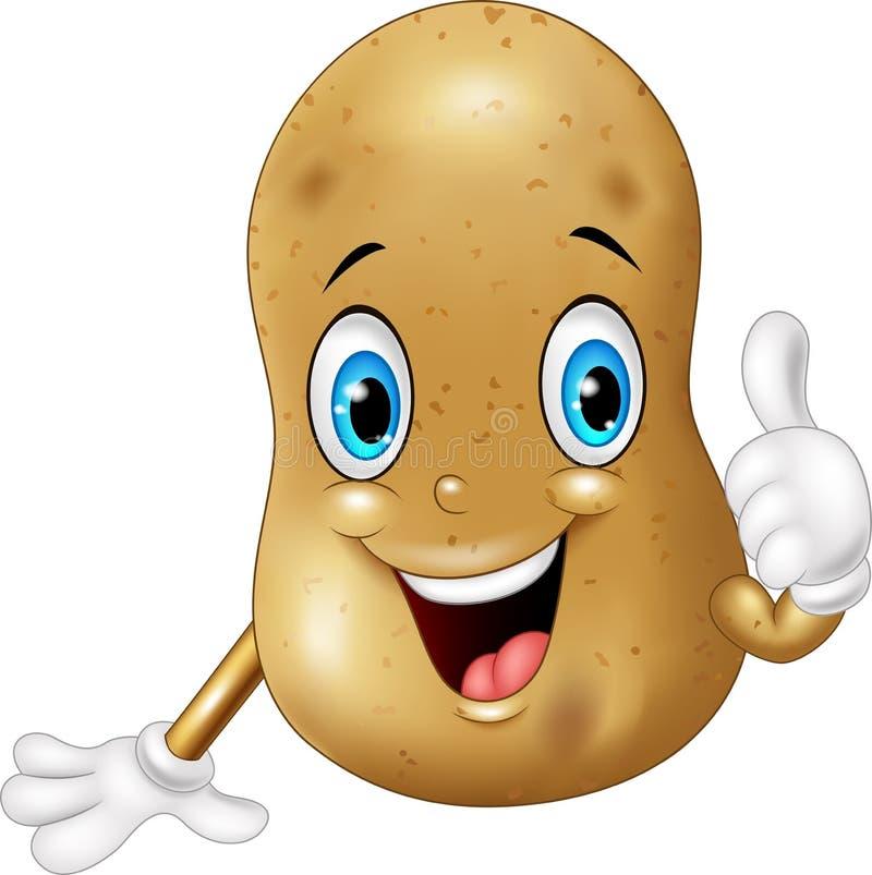 给赞许的动画片土豆 向量例证