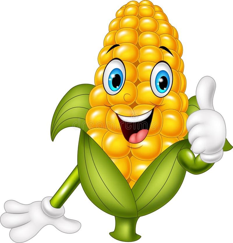 给赞许的动画片玉米 向量例证