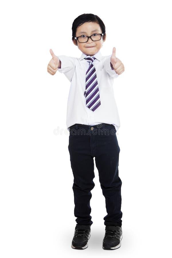 给赞许的小男孩 库存图片