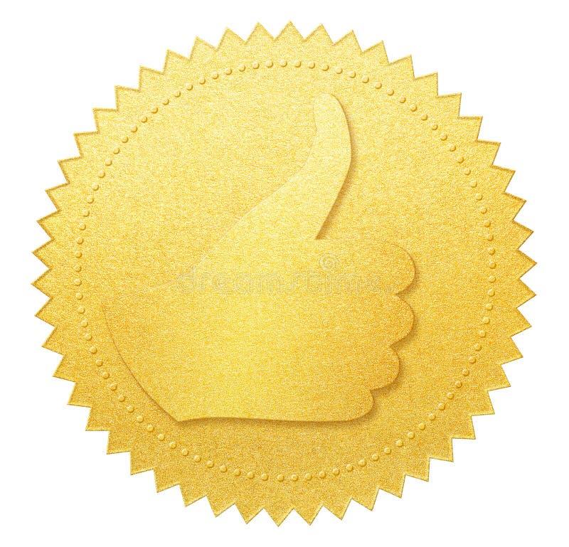 赞许金被隔绝的纸封印或奖牌 免版税库存图片