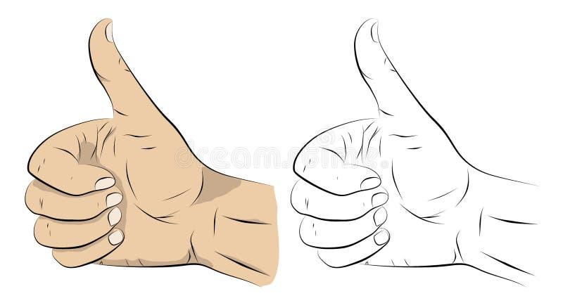 赞许 风格化动画片形象 腕子姿态 库存例证