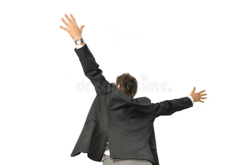 赢利地区生意人尖叫从喜悦 免版税库存图片