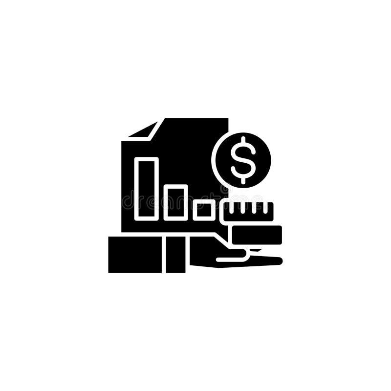 赢利报告黑色象概念 赢利报告平的传染媒介标志,标志,例证 向量例证