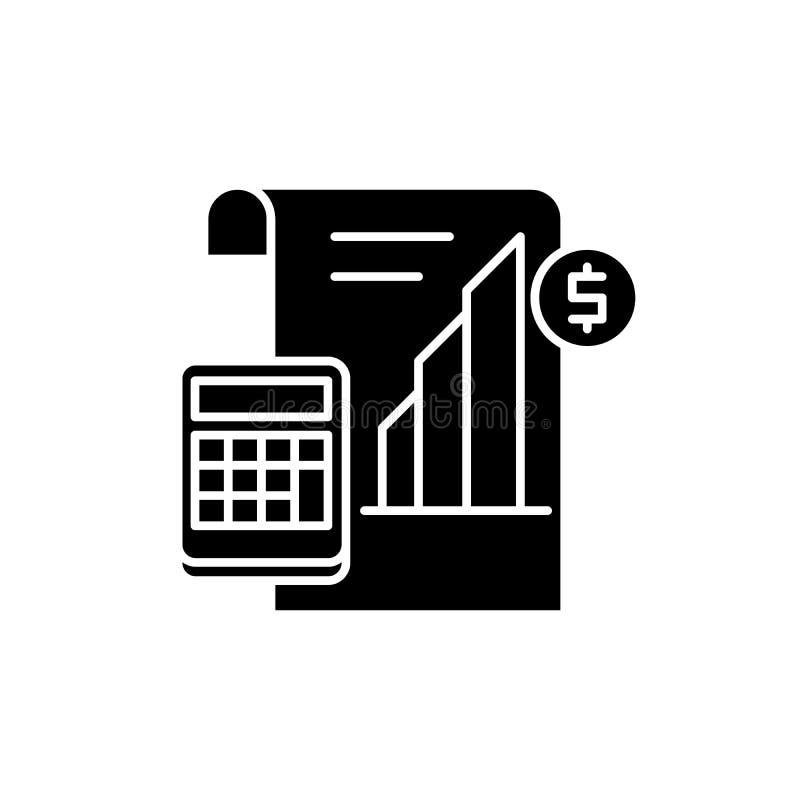 赢利报告黑色象,在被隔绝的背景的传染媒介标志 赢利报告概念标志,例证 向量例证