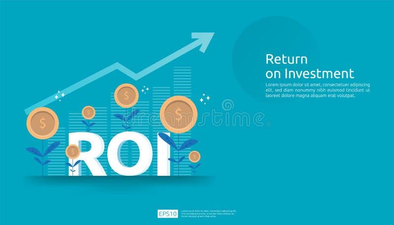 赢利机会概念的回收投资 : 与成功箭头图表图的ROI文本 向量例证