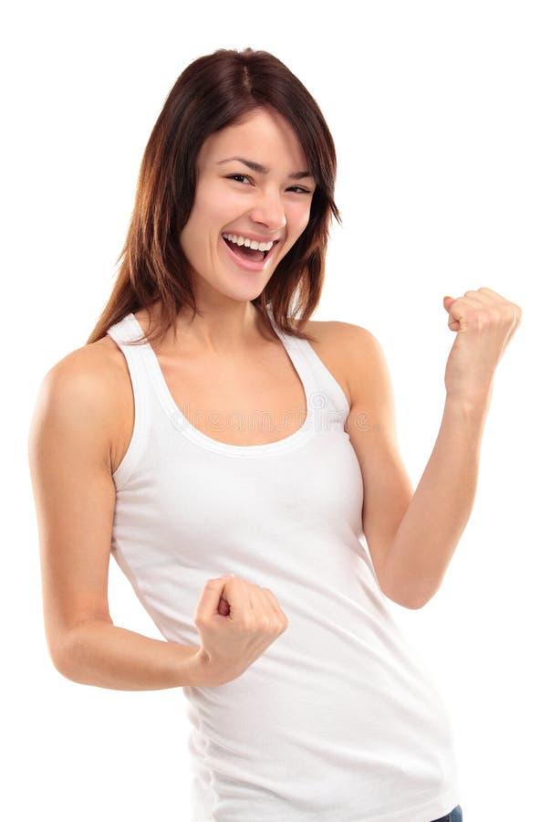赢取的成功妇女愉快欲死欲仙庆祝是赢利地区 免版税库存照片
