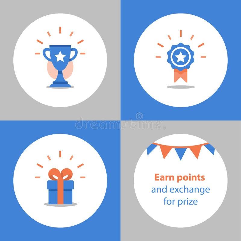 赢取超级奖、奖励节目、优胜者杯、第一个地方碗、成就和成就概念,平的象 库存例证