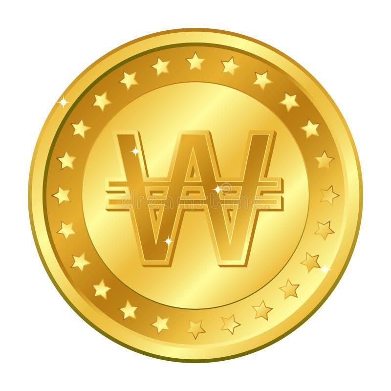 赢取,韩国货币与星的金币 在空白背景查出的向量例证 编辑可能的元素和强光 库存例证