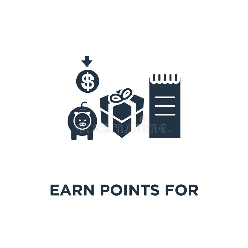 赢得购买象的点 忠诚节目概念标志设计、现金,营销和促进,奖励礼物,得到奖金 皇族释放例证