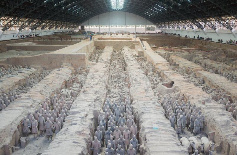 赤土陶器军队在羡,中国 免版税库存图片