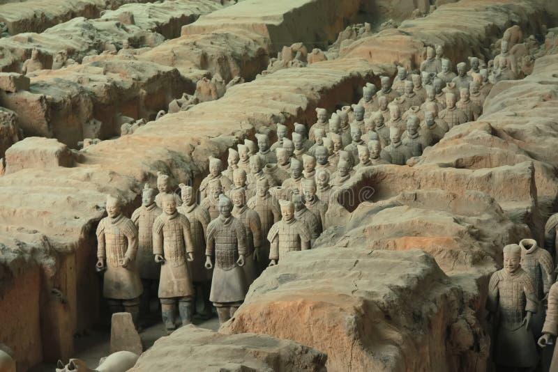 赤土陶器军队是古老中国战士图  库存图片