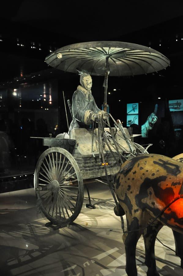 赤土陶器军队骑兵  秦始皇兵马俑 中国皇帝的黏土战士 赤土陶器军队的骑兵 库存照片
