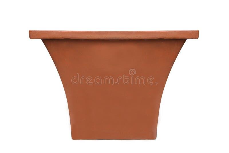 赤土陶器在白色背景隔绝的泥罐 免版税库存照片