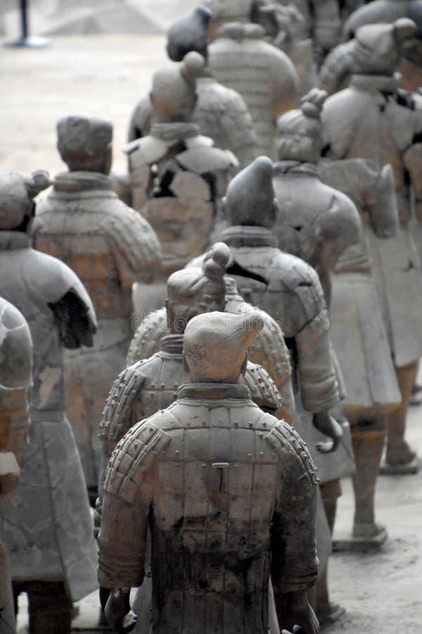 赤土陶器战士和马,西安,中国军队  库存图片