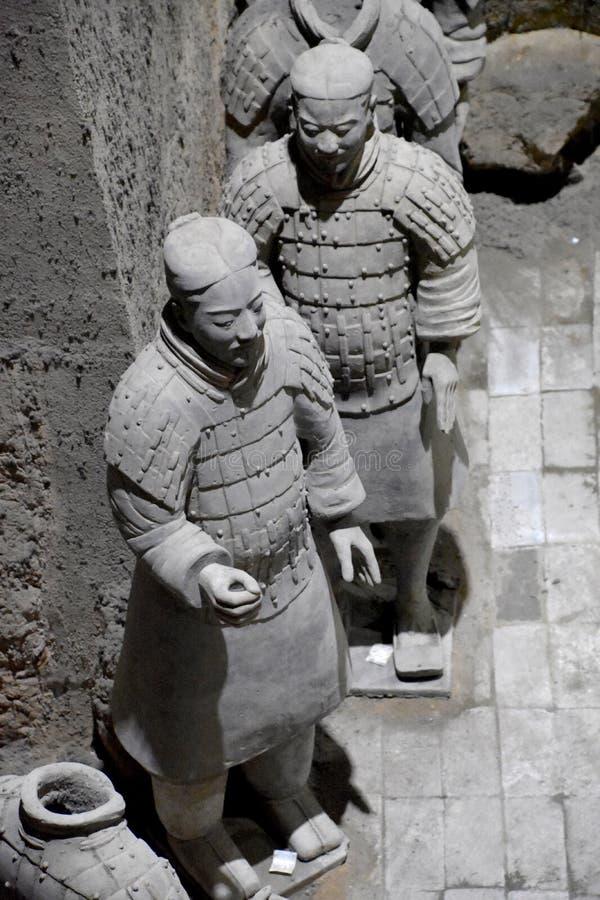 赤土陶器战士和马,西安,中国军队  免版税库存照片
