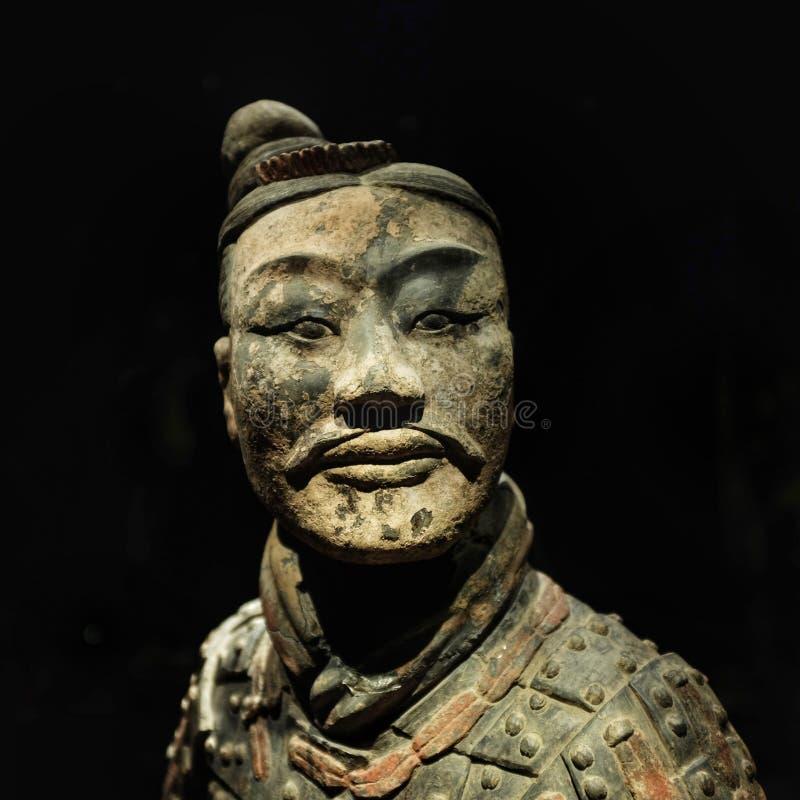 赤土陶器战士的面孔 免版税库存图片