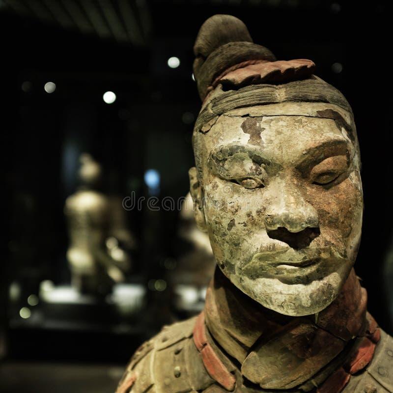 赤土陶器战士的面孔 免版税图库摄影
