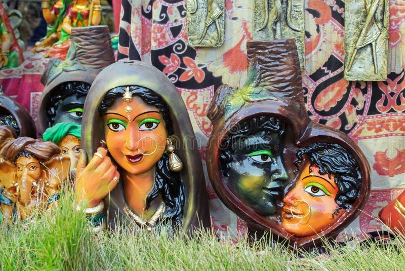 赤土陶器玩偶,印地安工艺品公平在加尔各答 库存照片
