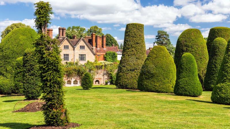 赤柏松庭院, Packwood议院,沃里克郡,英国 免版税图库摄影