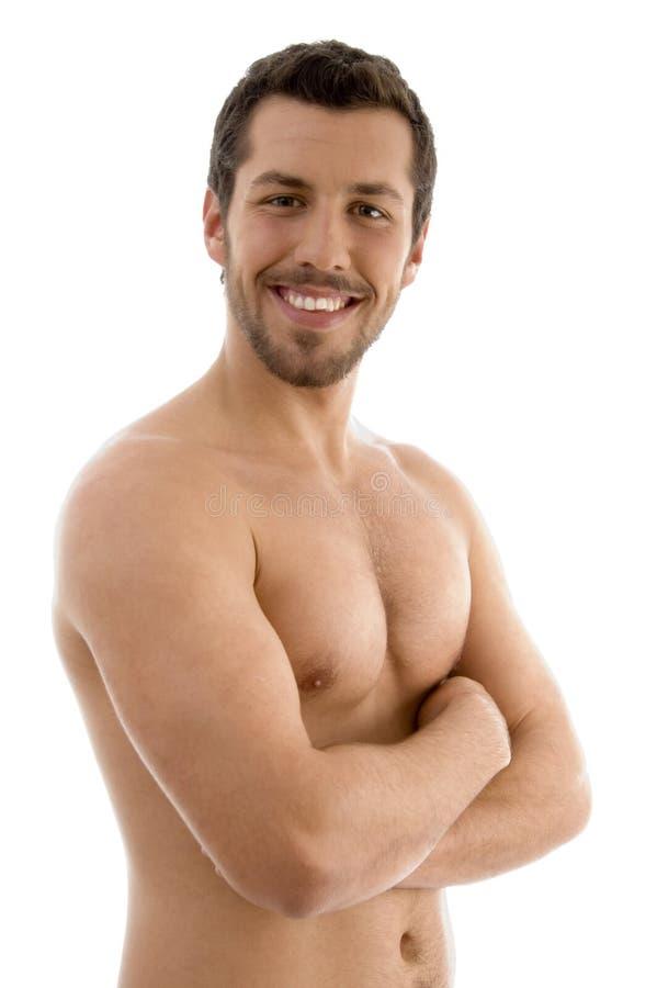 赤裸上身被折叠的现有量的男 库存照片