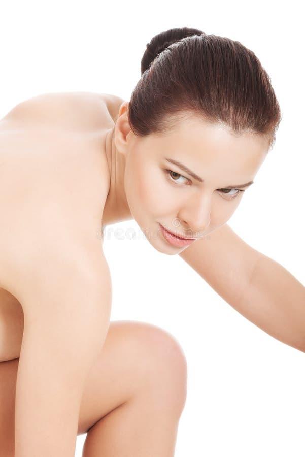 赤裸美丽的妇女。躯干,身体局部。 免版税图库摄影