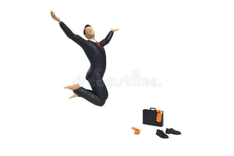 赤足玩具微型商人小雕象为喜悦和幸福跳跃,与五颜六色的袜子、鞋子和公文包,概念i 向量例证