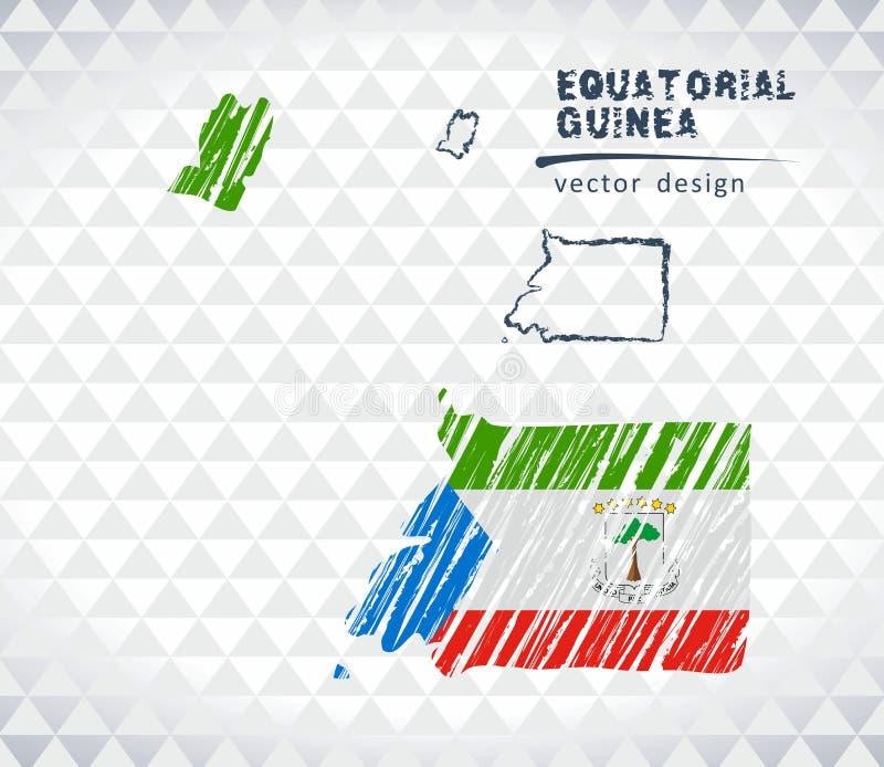 赤道几内亚与在白色背景隔绝的旗子里面的传染媒介地图 剪影白垩手拉的例证 库存例证