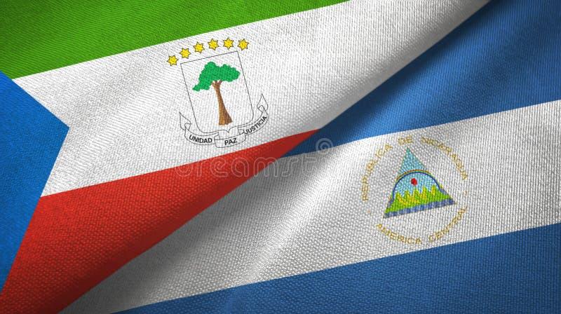 赤道几内亚和尼加拉瓜两旗子纺织品布料,织品纹理 向量例证