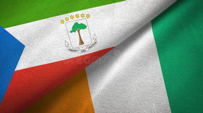 赤道几内亚和科特迪瓦象牙海岸两旗子织物纹理 库存例证