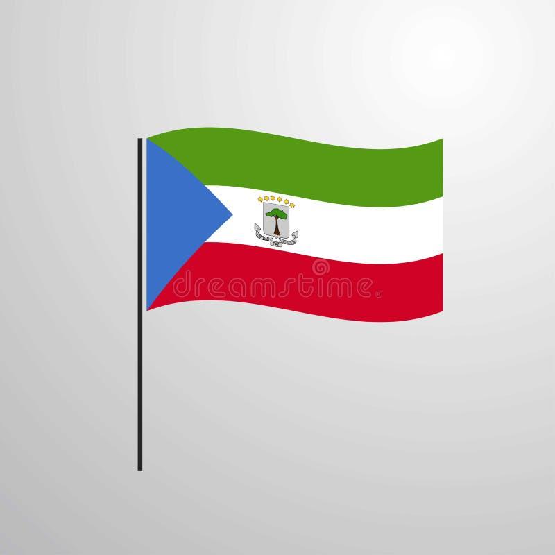 赤道几内亚挥动的旗子 库存例证