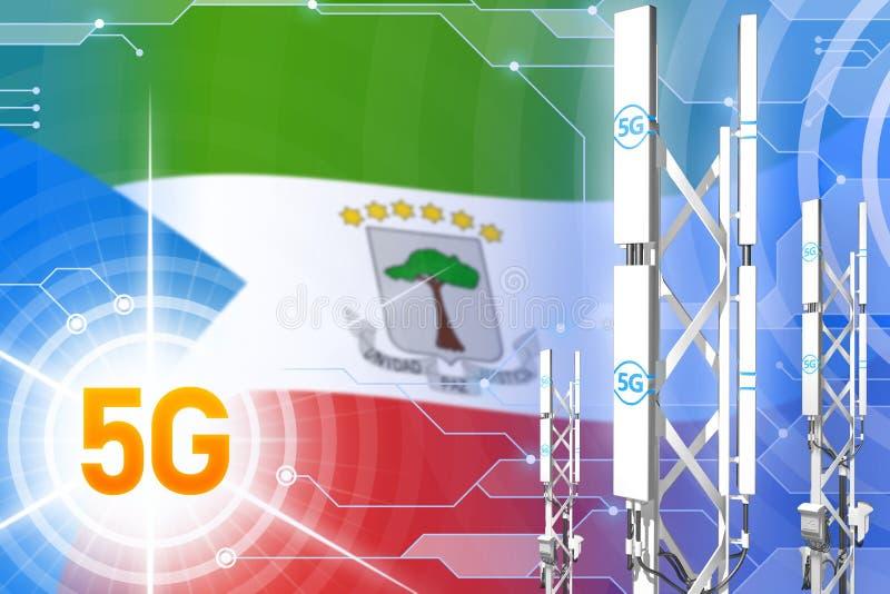 赤道几内亚5G工业例证、大多孔的网络帆柱或者塔在数字背景与旗子- 3D 皇族释放例证