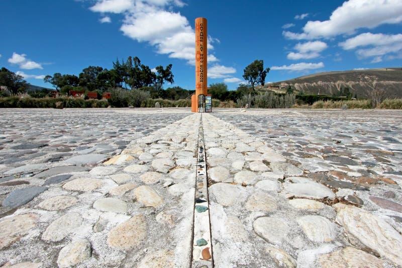 赤道线纪念碑,标记点赤道通过,卡扬贝火山,厄瓜多尔 免版税图库摄影