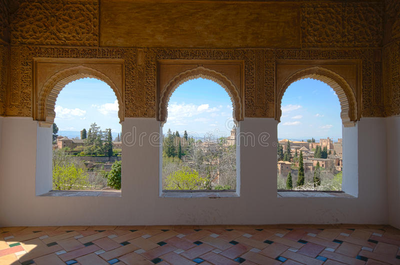 赫内拉利费宫窗口 免版税图库摄影