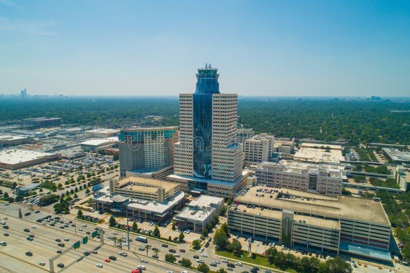 赫尔曼门户纪念城市大厦休斯敦得克萨斯的空中照片 库存图片