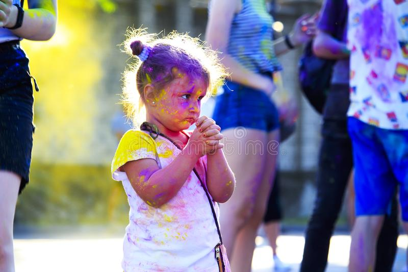 赫尔松州,乌克兰6月17日 2019年:颜色侯丽节节日  库存照片